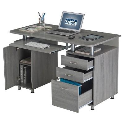 Complete Workstation Computer Desk With Storage - Gray - Techni