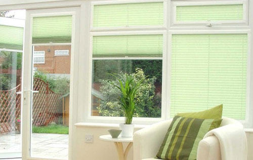 Venetian blinds installed in a conservatory