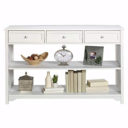 Amazon.com: Oxford 47 Inch White Three Drawer and Open Shelf Console