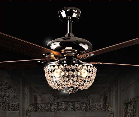 Crystal Chandelier Ceiling Fan Combo u2026 | Remodeling | Ceiliu2026