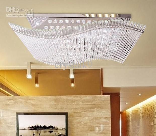 Modern Minimalist LED K9 Crystal Rectangular Ceiling Lamp Dining
