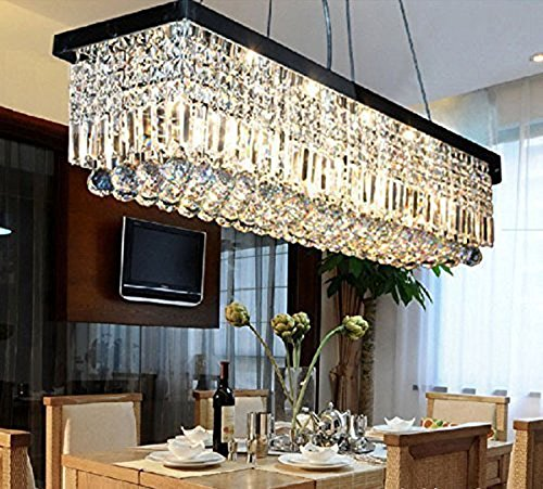 APBEAM Clear K9 Modern Rain Drop Crystal Chandelier Dining Room