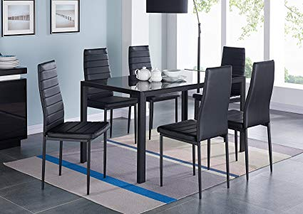 Amazon.com - IDS Online 7 Pieces Modern Glass Dining Table Set Faxu