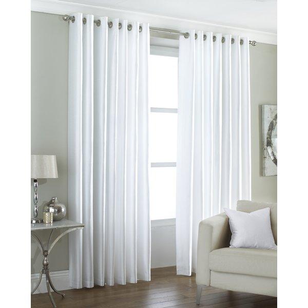 Wayfair Basics Faux Silk Eyelet Semi-Sheer Curtains & Reviews