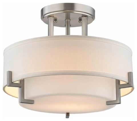 Modern Ceiling Light With White Glass, Satin Nickel - Contemporary