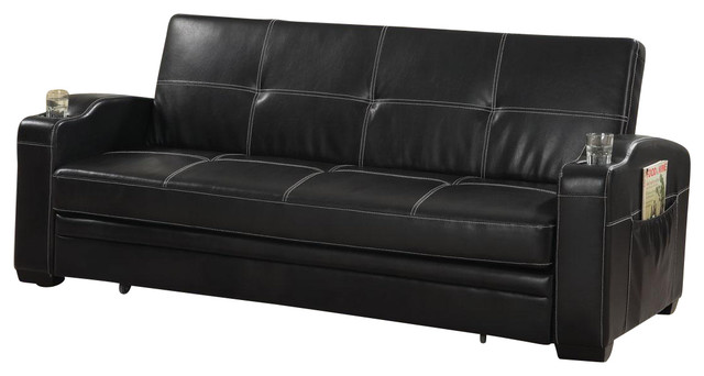 Faux Leather Sofa Bed Sleeper Lounger With Storage Cup Holders Pop