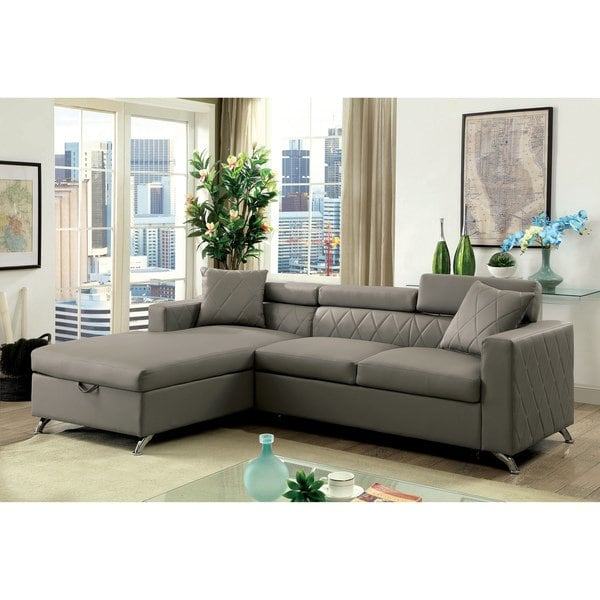 Shop Furniture of America Klenins Contemporary Tufted Grey Leather