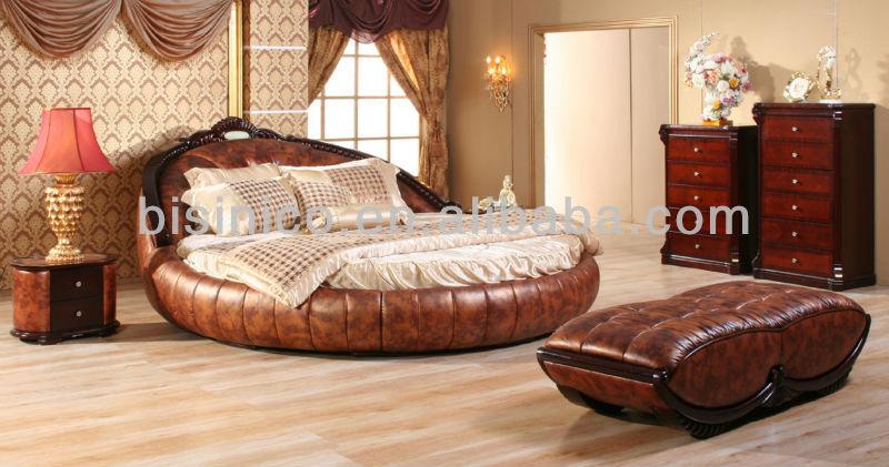 Contemporary Luxury Bedroom Furniture Set, Golden Genuine Leather