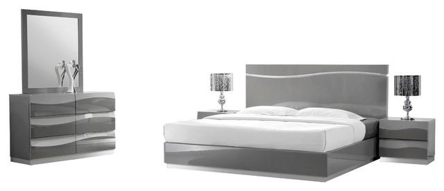 Leon Gray Modern 5-Piece Bedroom Set - Contemporary - Bedroom
