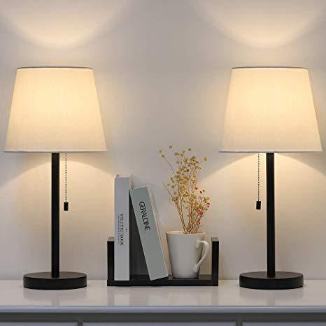 Modern Table Lamp Set of 2, Bedside Lamps for Bedroom, Living Room