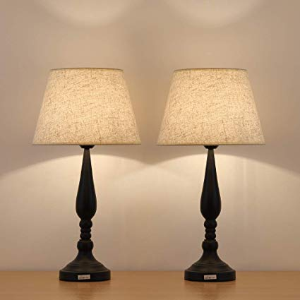 HAITRAL Modern Night Lamps Set of 2 - Contemporary Bedside Table