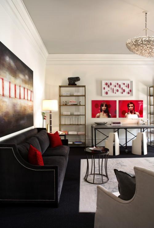 Black Velvet Sofa - Contemporary - living room - Dillard Design