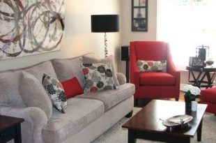love the grey and red | Living Room / Family Room Ideas | Red living