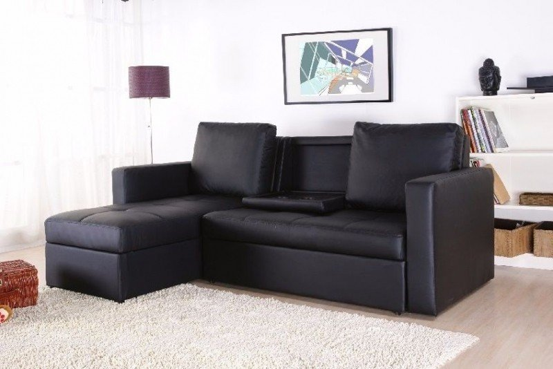 Leather sectional sleeper sofa with chaise 4