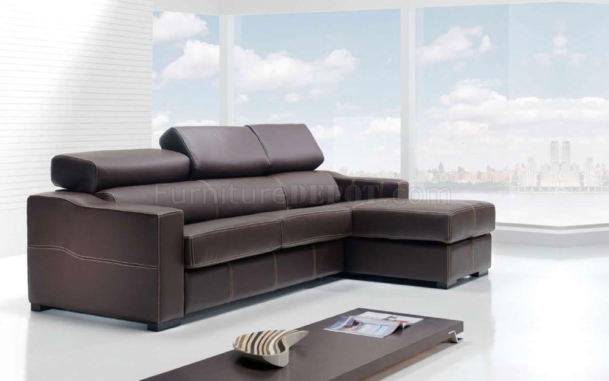 Brown Full Top Grain Leather Modern Sectional Sofa w/Sleeper