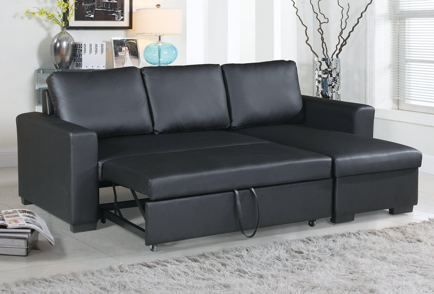 Modern Black Faux Leather Convertible Sectional Sofa Set with Pull