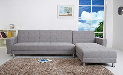 Amazon.com: Gold Sparrow Frankfort Convertible Sectional Sofa Bed