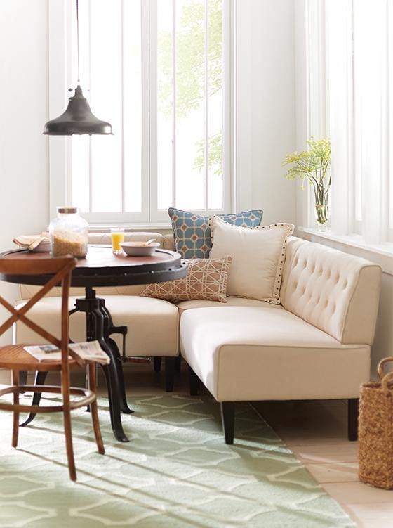 Easton Breakfast Nook. upholstered banquette. eat in kitchen seating