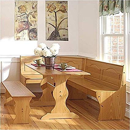 Amazon.com: Pemberly Row Breakfast Corner Nook Table Set in Natural