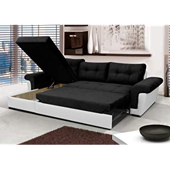 Corner Sofa Bed with Storage - Black Fabric/White Leather: Amazon.co