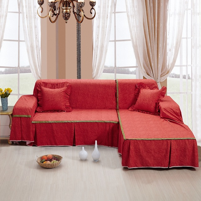 SunnyRain Thick Cotton Canvas Solid Color Red Sofa Covers l Shaped