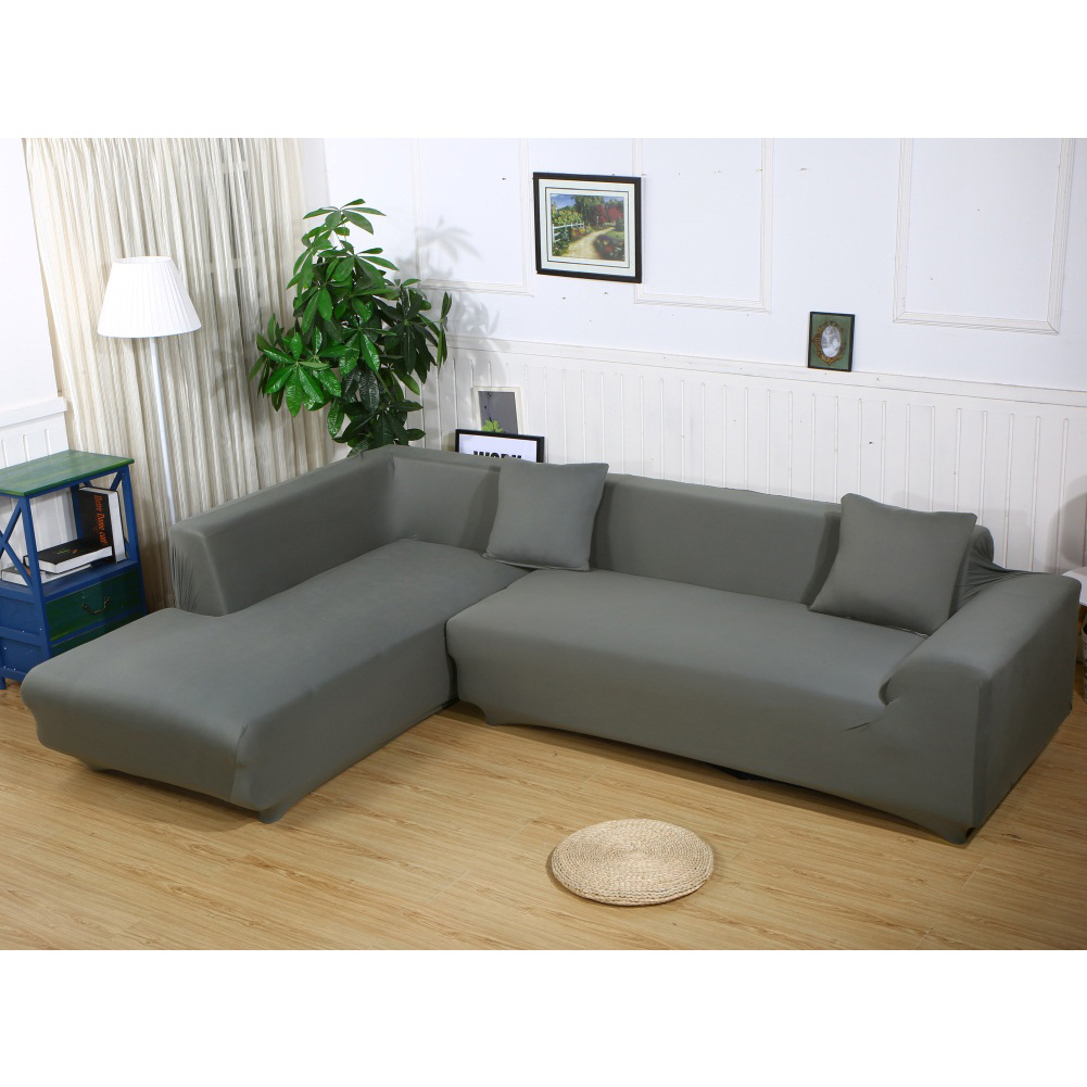 Sofa Covers L Shape,2pcs Polyester Fabric Stretch Slipcovers for