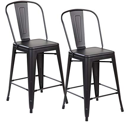 Amazon.com: Modern Industrial Metal Counter Height Bar Stools with