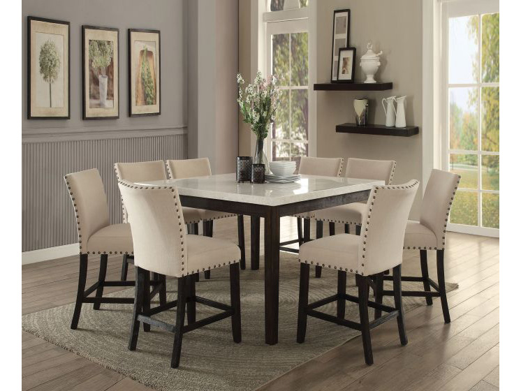 Nolan White Marble Top Counter Height Dining Set - Shop for