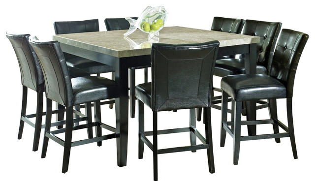Steve Silver Monarch 9-Piece Marble Top Counter Height Set