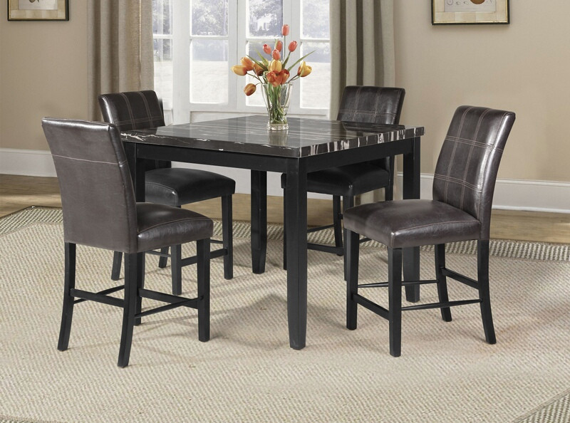 71070-72 5 pc blythe square black finish wood and faux marble top