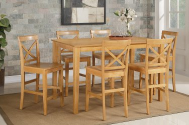 Capri counter height rectangular dining table + 6 wood chairs light