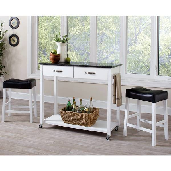 Shop Casual 3-piece Kitchen Mobile Counter Height Table Set with