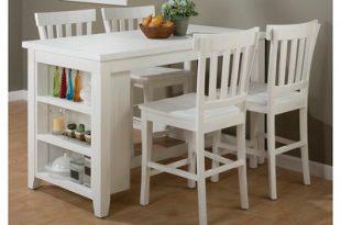 Madaket Counter Height Table With 3 Shelf Storage Wood/White
