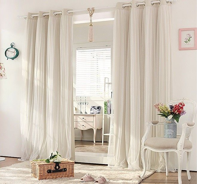 Double Layer Blockout with Lace curtains (CREAM BEIGE) | Living room