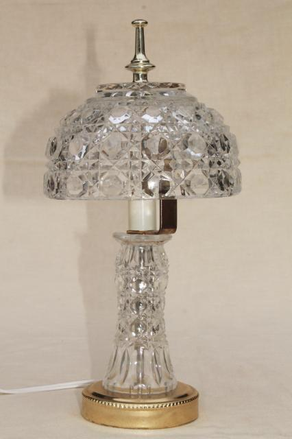 90s vintage heavy crystal clear glass table lamp, vase base w/ bowl
