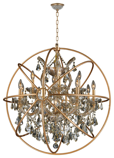 Foucault's Orb Chandelier 13 Lts Chrome Clear Crystal Flemish Brass