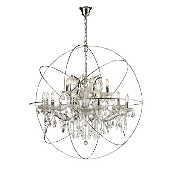 Shop 18-light Iron/ Egyptian Crystal Orb Chandelier - Free Shipping