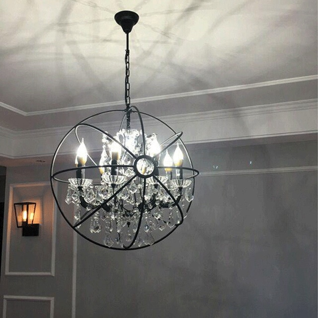 Modern Crystal Orb Chandelier Lamp Lighting RH Rustic Candle