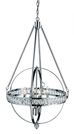 4 Light Glam Prism Crystal Orb Chandelier Elan Indoor Polished