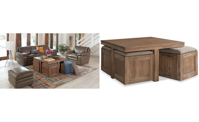 Champagne Cube Coffee Table with 4 Storage Ottomans, Created for