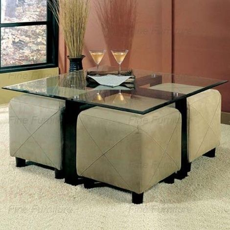 coffee table ottoman with seating | Glass Coffee Table and 4 Ottoman