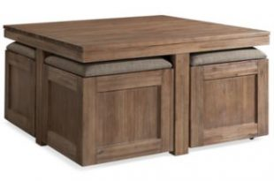 Furniture Champagne Cube Coffee Table with 4 Storage Ottomans