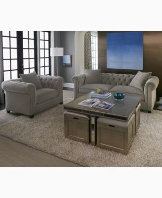 Furniture CLOSEOUT! Ailey Cube Coffee Table with 4 Storage Ottomans