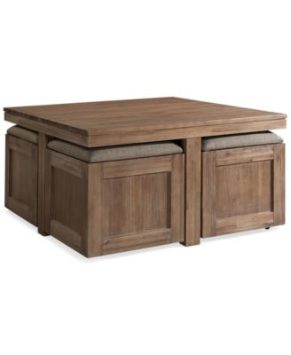 Cube Coffee Table With 4 Storage Ottomans