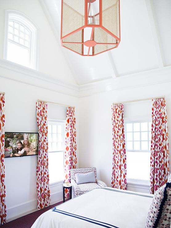 Teen Girl Bedroom with Orange and Pink Curtains - Transitional - Bedroom