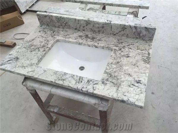 Brazil Ice Granite Bathroom Countertops and White Custom Bathroom