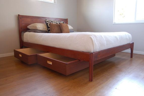 Classic Modern Bed with Storage (Mid Century Danish Modern Style Bed