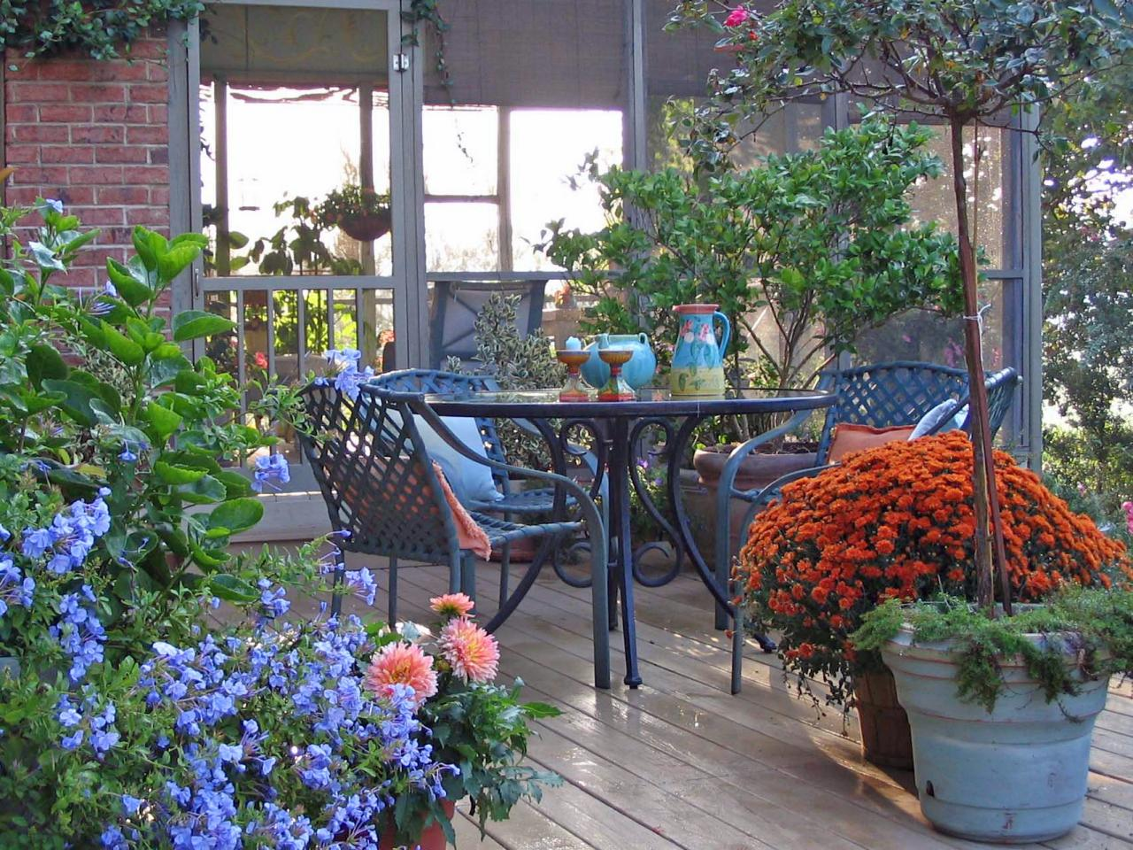 Inviting Deck Full of Flowers