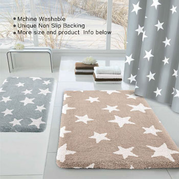 Place high quality decorative large bathroom rugs near to bathtub