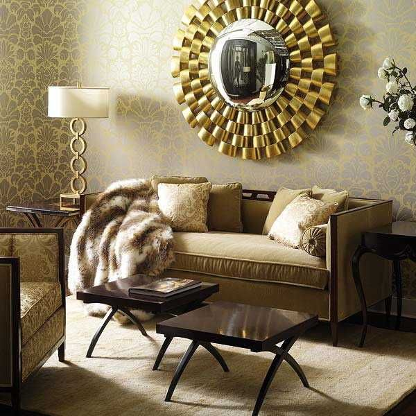 Stunning golden round decorative mirror | Living Room -Space for all